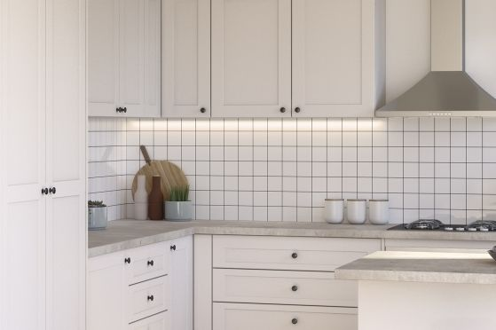 macaroon doors in alpine profile light biscotti laminate benchtops kaboodle flat pack on kaboodle kitchen white pepper id=17017