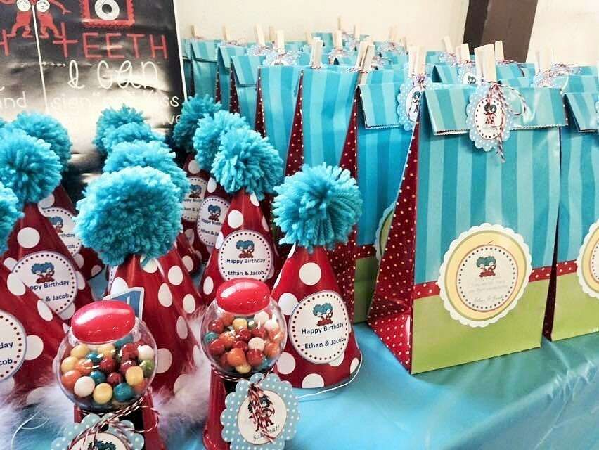 Dr Seuss Thing 1 Thing 2 Twin Boys First Birthday Party