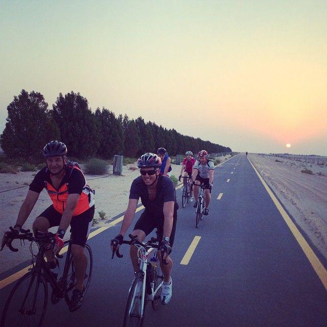 Sunrise cycle rides on the roads of Dubai