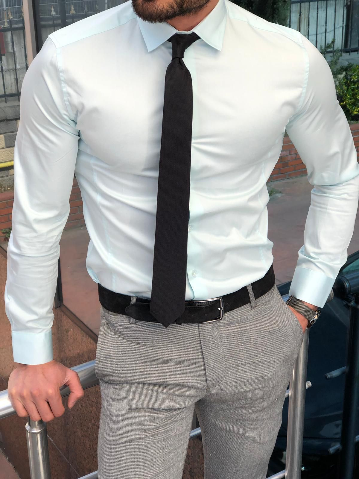 Buy Mint Green Slim Fit Dress Shirt By Gentwith Com With Free Shipping Business Attire For Men Stylish Mens Outfits Mens Dress Outfits