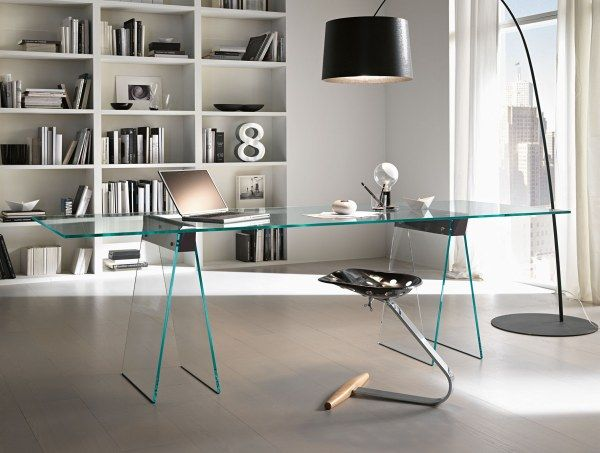 5 chic italian furniture manufacturers - Modern Home Office Glass Desk
