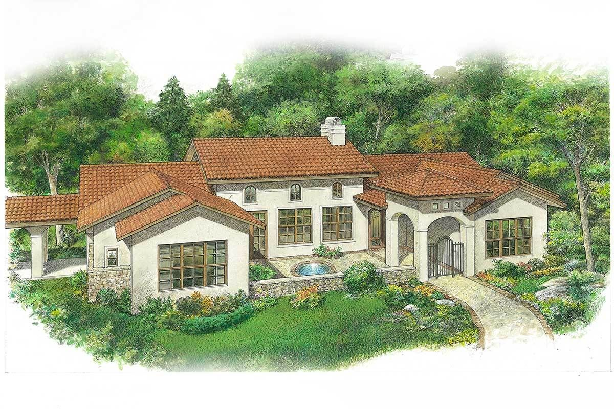 Plan 46072hc 3 Bed Spanish Style House Plan With Front Courtyard Spanish Style Homes Front Courtyard Spanish House