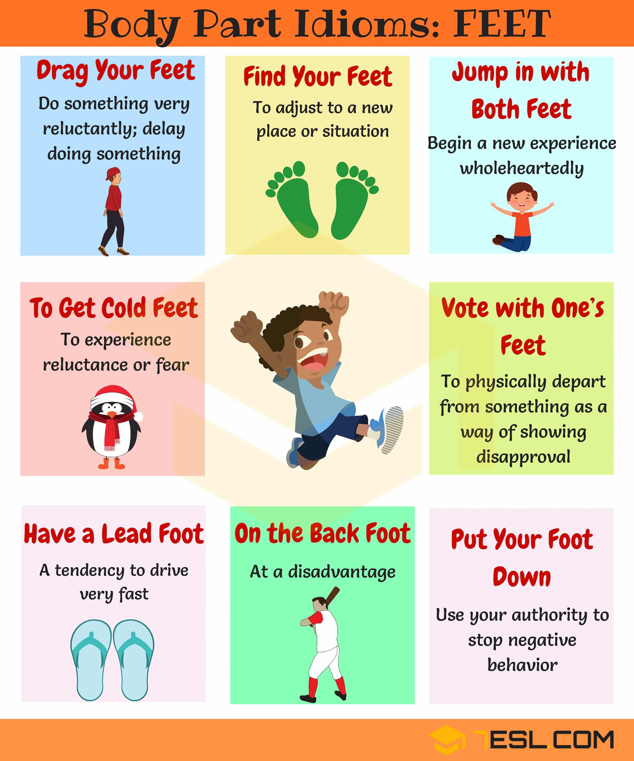 Foot Idioms Useful Phrases Idioms With Feet In English 7 E S L English Idioms Learn English Idioms
