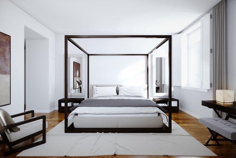 Strutture Mobili ~ Struttura letto legno colore rovere pavimento legno tappeto bianco