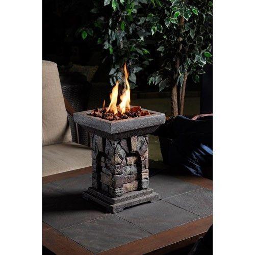 LP Tabletop Bowl Outdoor Patio Propane Gas Square Faux Stone Firepit Fire Pit