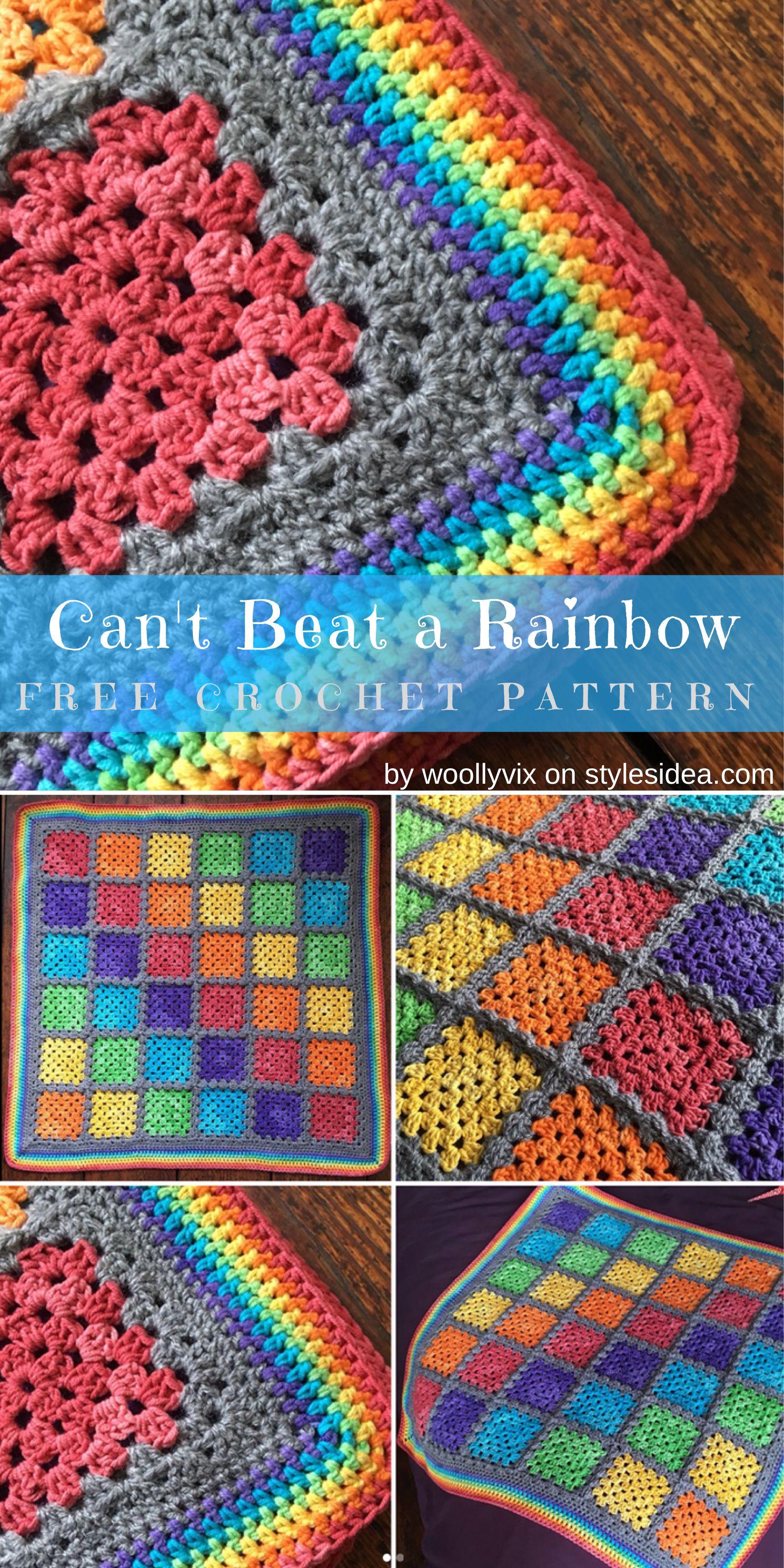 Rainbow Granny Squares Free Crochet Pattern | Häkeln, Feste masche ...