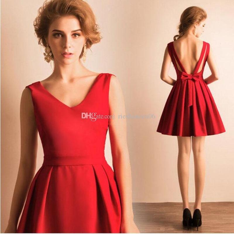 Großhandel 2016 Red Lace Prom Kleider Short Mini Rock ...