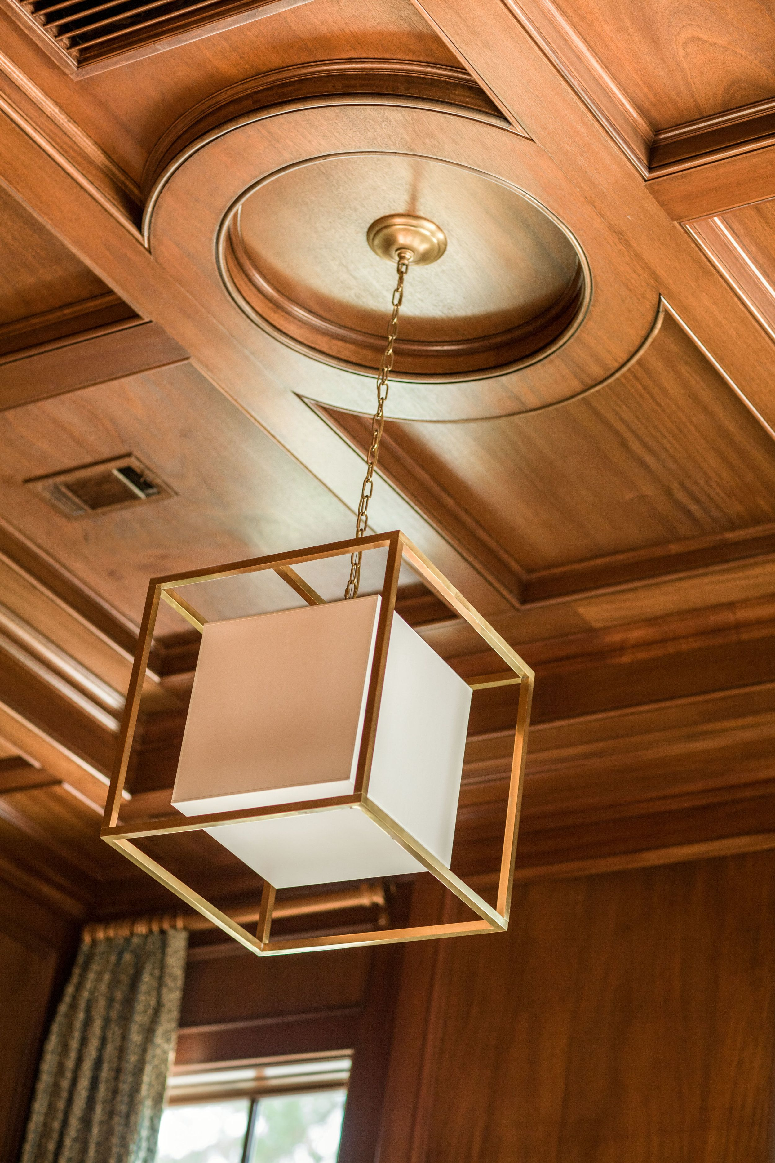 Wood Paneled Library: Library With Wood-paneled Coffered Ceiling