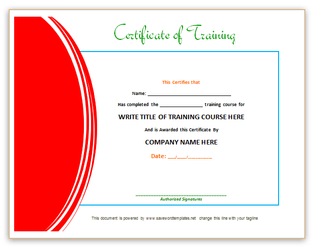 Red Training Certificate Template  Certificate