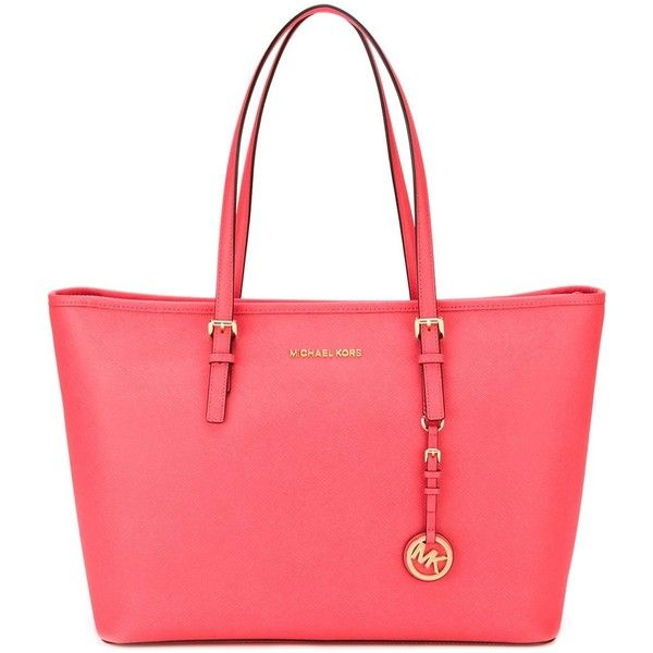 Michael Kors Jet Set Travel Tote ($336) ❤ liked on Polyvore featuring bags, handbags, tote bags, red leather tote, michael kors tote, pink leather tote, leather handbags and handbags totes