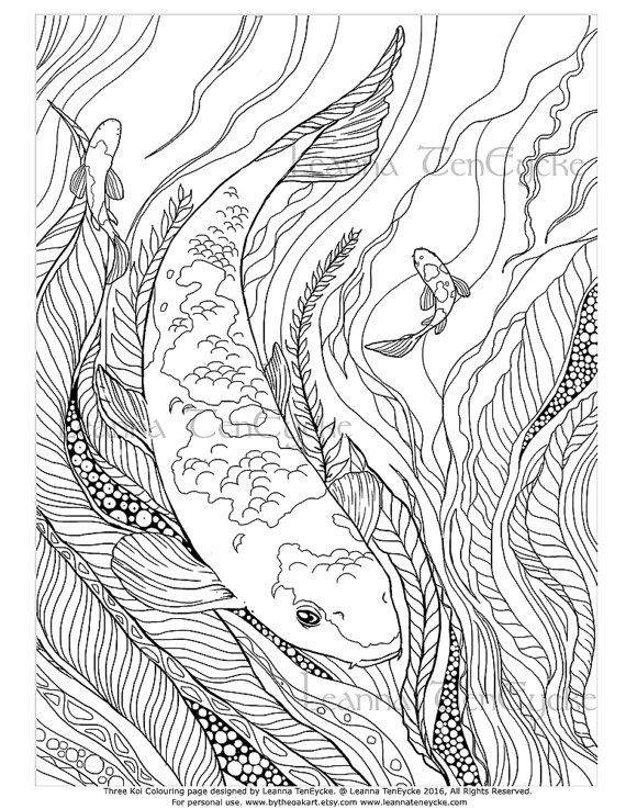 Adult Colouring Page Fish Animals Koi Underwater Sea Life Printable Digital