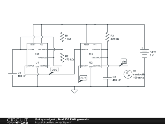 555 PWM generator ADC analogue to digital converter