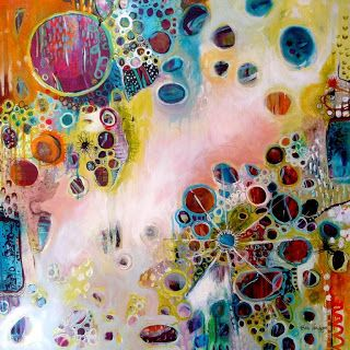 """Meaning and Motion"" by  Tracy Verdugo - acrylic and ink on canvas 91x91cm #mixed_media"