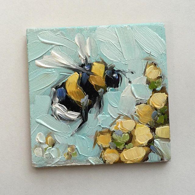 Simple Bumblebee Handmade Tiny Painting on Barrette
