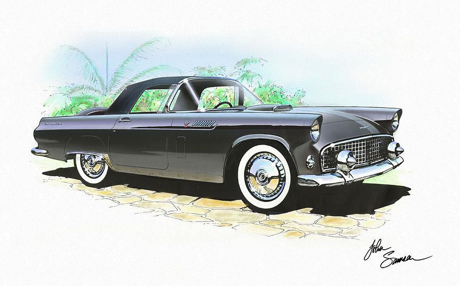 1956 Ford Thunderbird  Black  Classic Vintage Sports Car Art Sketch Rendering   …
