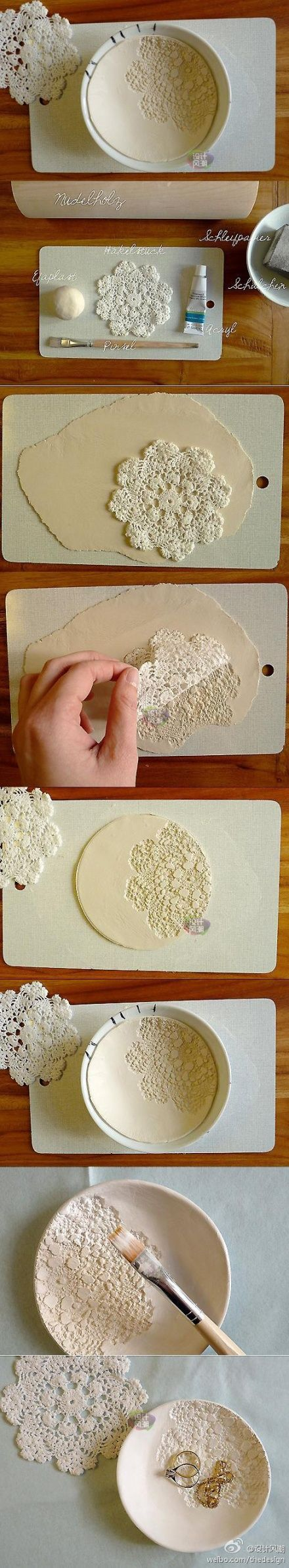 DIY air dry clay bowl using lace ~ pretty!