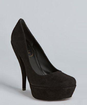 Yves Saint Laurent black suede Lucy 105 pumps
