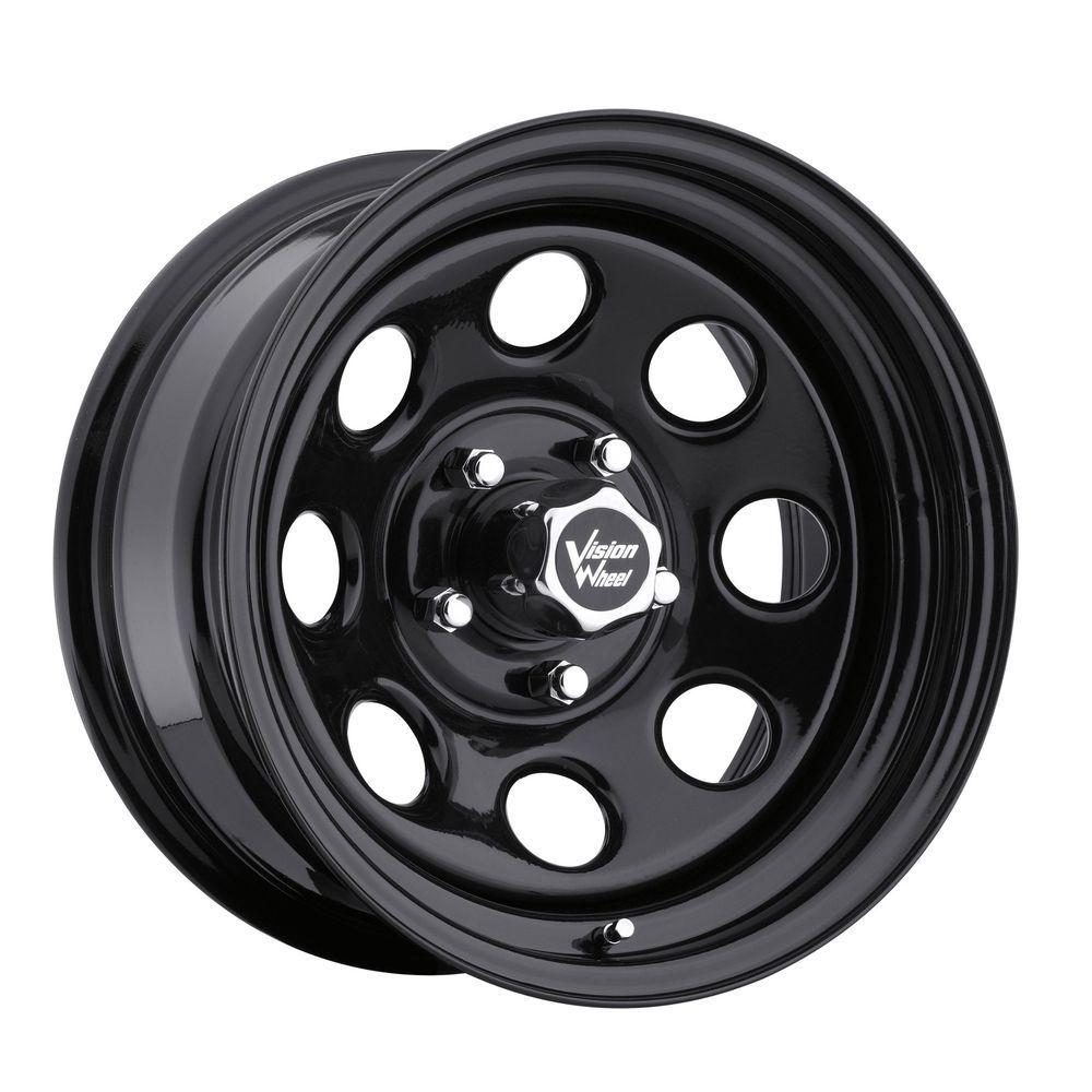 17 Vision 85 Soft 8 Gloss Black Steel Wheel 17x9 8x170mm 12mm Ford 8 Lug Rim Vision Obod Kolesa