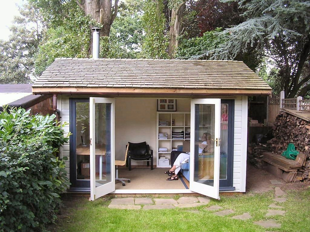 Traditional garden office x 3m deep pitched cedar for Outside office shed