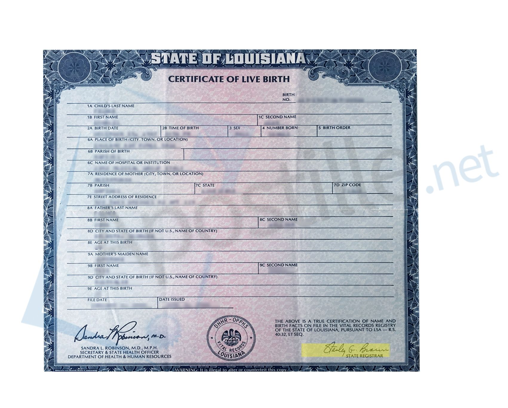State Of Louisiana Birth Certificate Issued By Stanley G Braun State