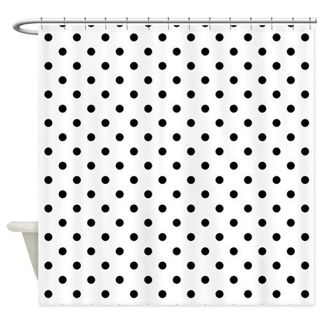 Black And White Polka Dots Shower Curtain On CafePress