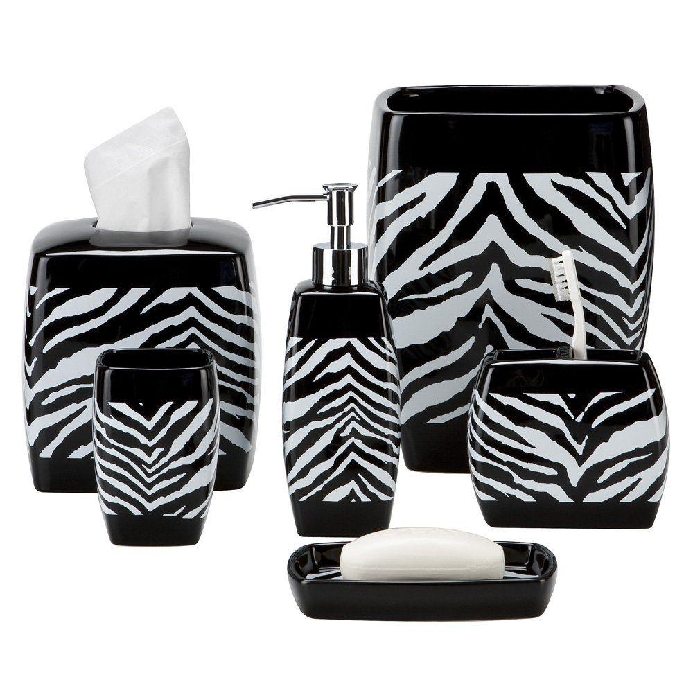 pink and black zebra bathroom cthroom set | bathroom accessories