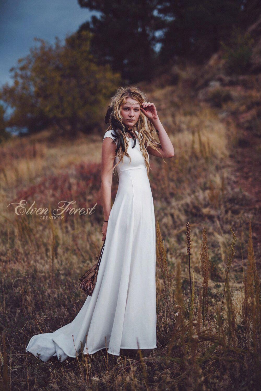 Simply bohemian wedding dress elven forest wedding reception