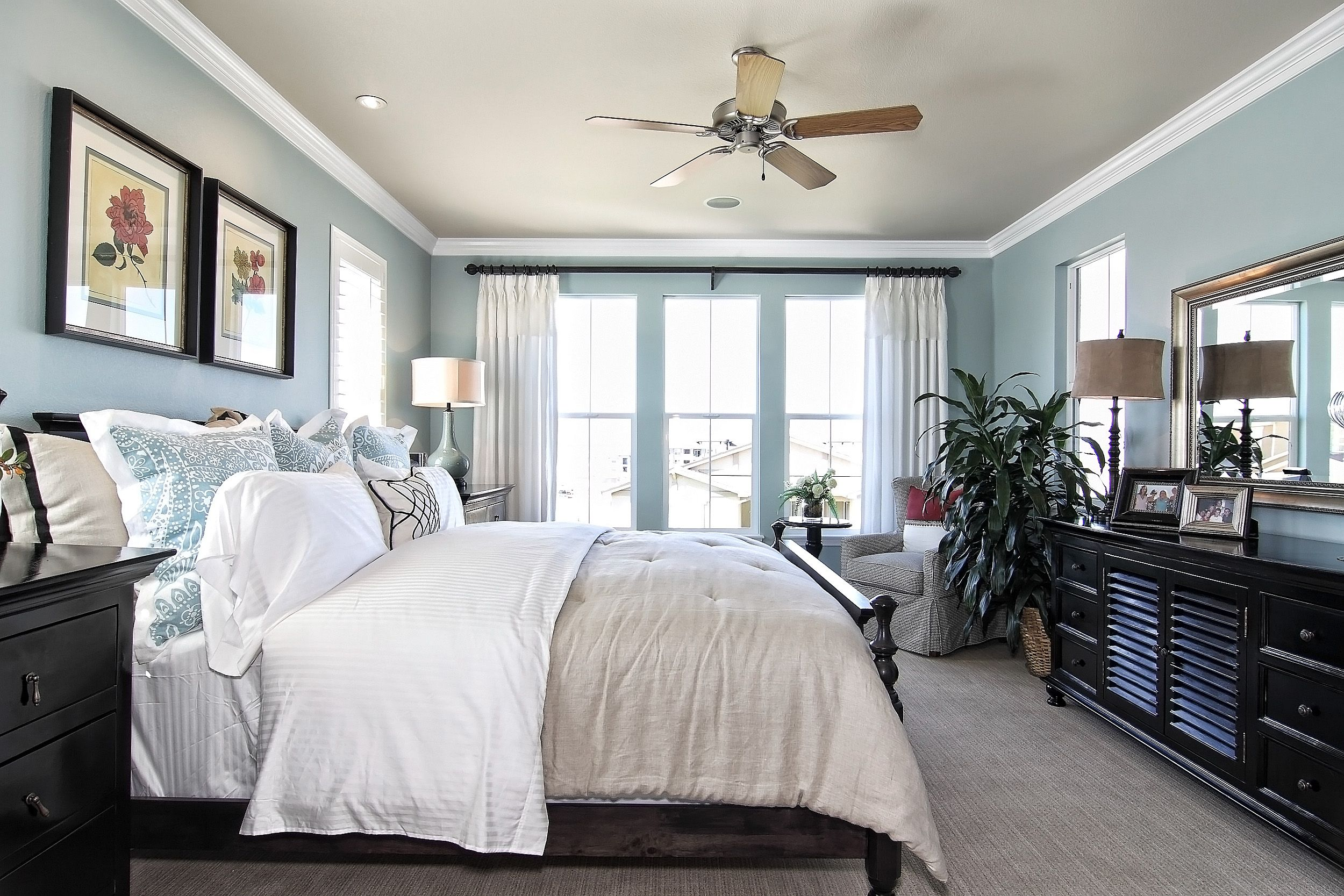 Master bedroom light blue white and black = relaxing #KellerHomes HOME Bedroom - Black White And Blue Bedroom