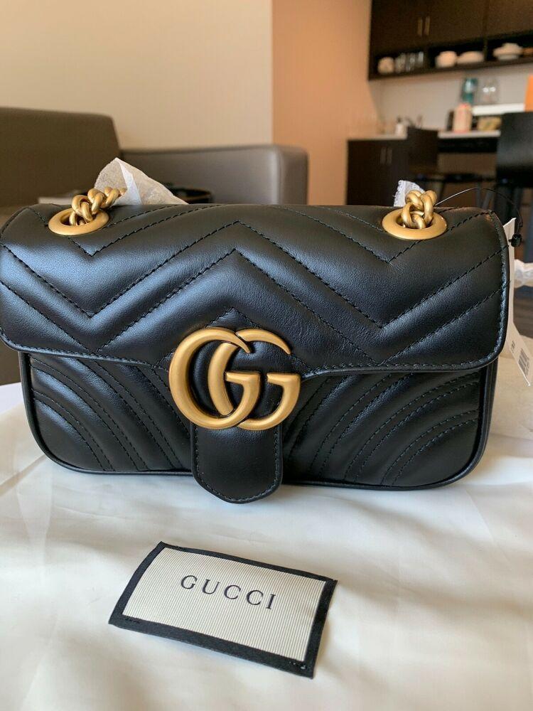 f4251f5901c NWT Gucci GG Marmont matelassé mini black bag  1790  fashion  clothing   shoes