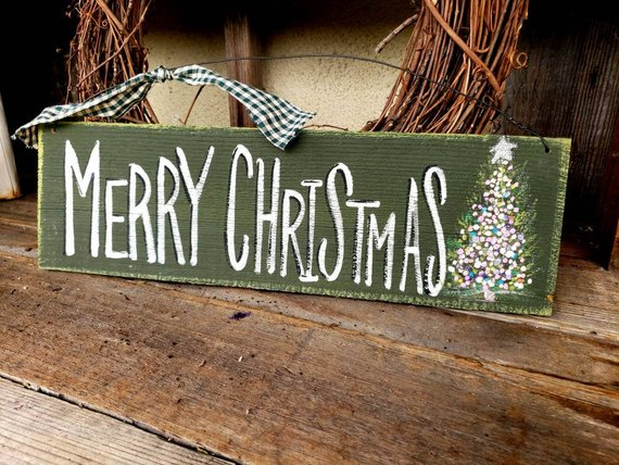 Rustic merry christmas sign,primitive christmas sign,outdoor