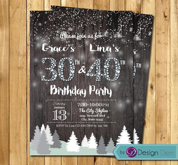 Adult Winter Joint Birthday Invitation Women Combined Rustic