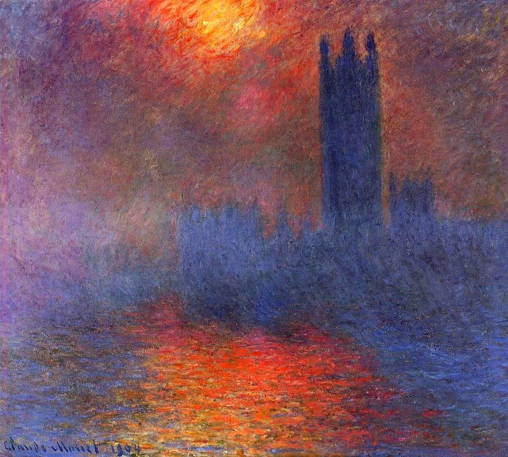Claude Monet Houses Of Parliament London With The Sun Breaking Through The Fog 1904 Monet Paintings Monet Oil Paintings Claude Monet Paintings
