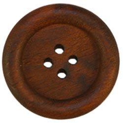 "1 1/8"" 4-Hole Dark Wood Button w/ Rim (28mm)"