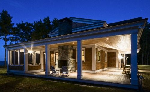 Open porch with fire place