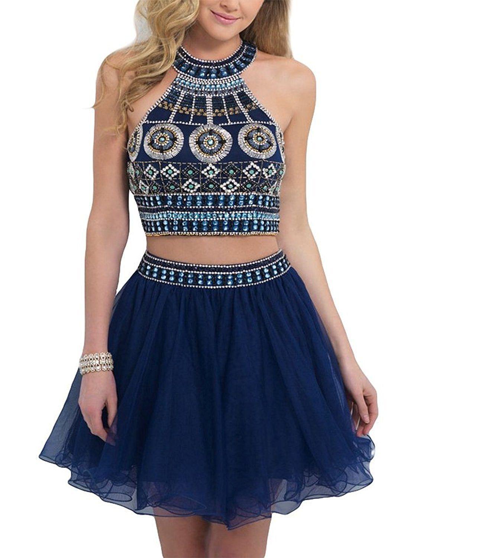 Momoai Rhinestones Two Pieces Homecoming dress Short Prom Dress
