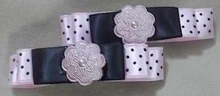 Polka Dot Pink & Black Flower Hair Clips | Jenstardesigns - Accessories on ArtFire