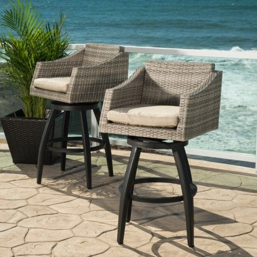 RST Cannes Wicker Swivel Patio Barstools - Set of 2