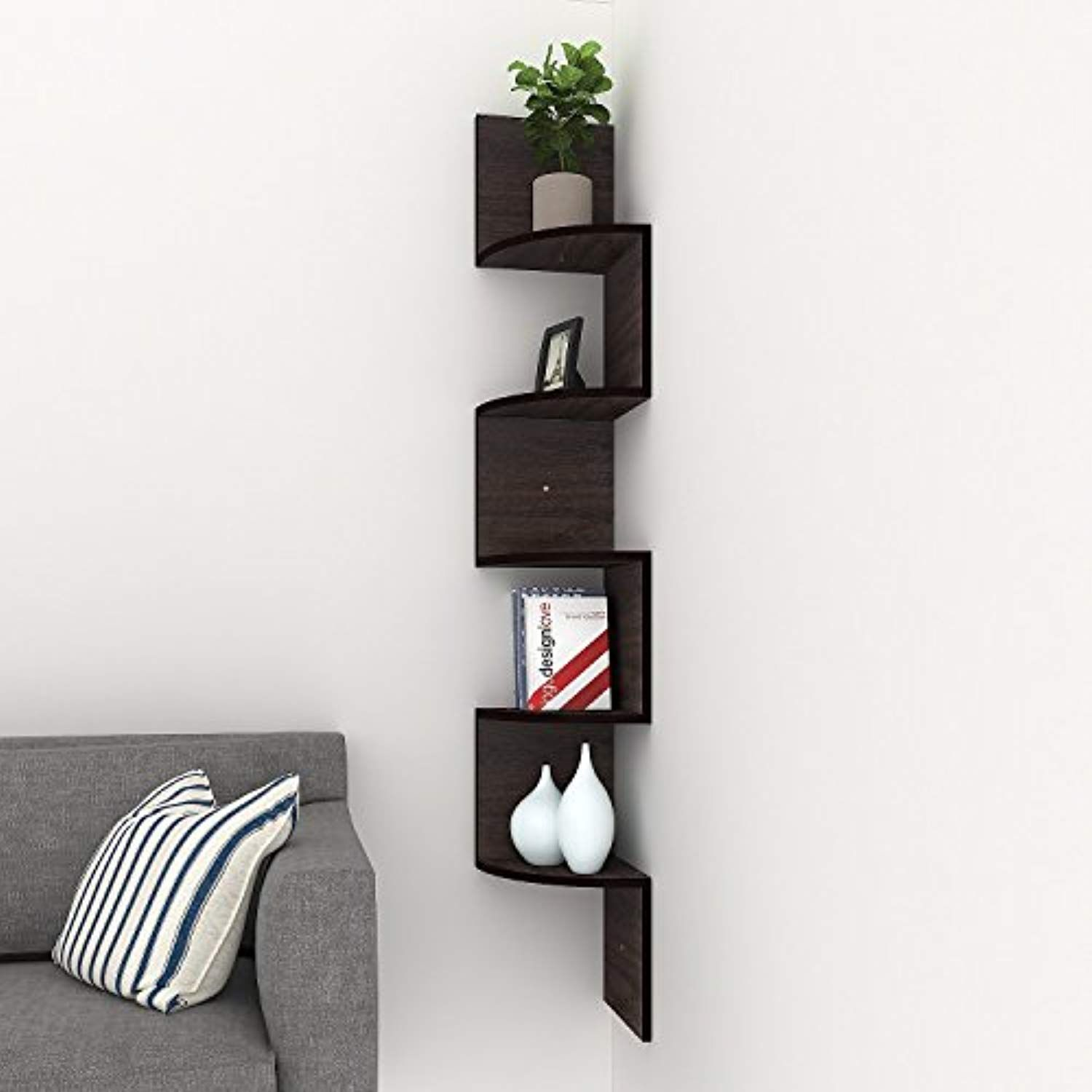 Fashine 5 Tier Corner Wall Mount Shelves Walnut Finish Corner Shelf Home Floating Storage Wall Mounted Shelves Corner Wall Shelves Floating Shelves
