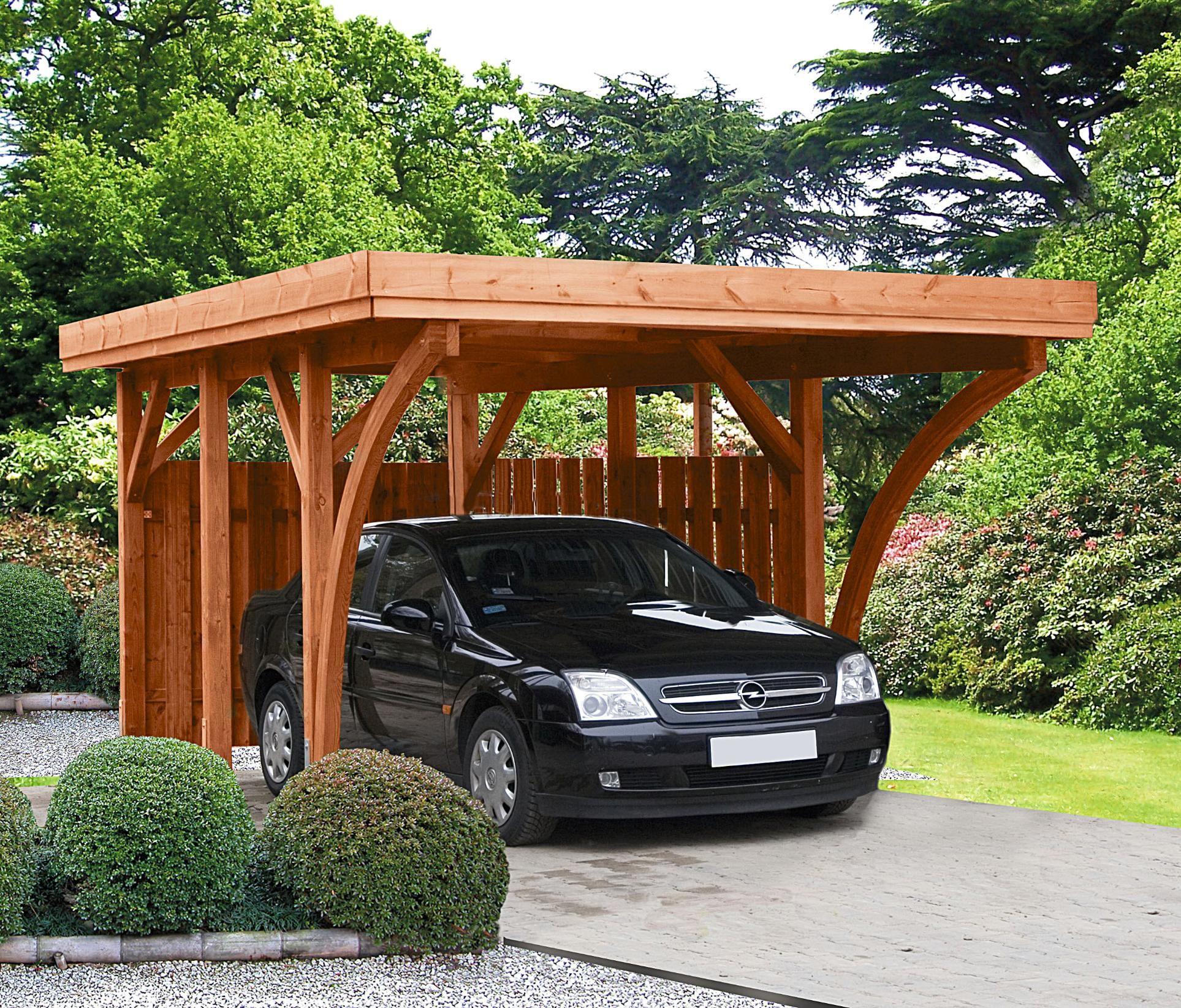 Scierie de la Hardt carport bois traité toit plat