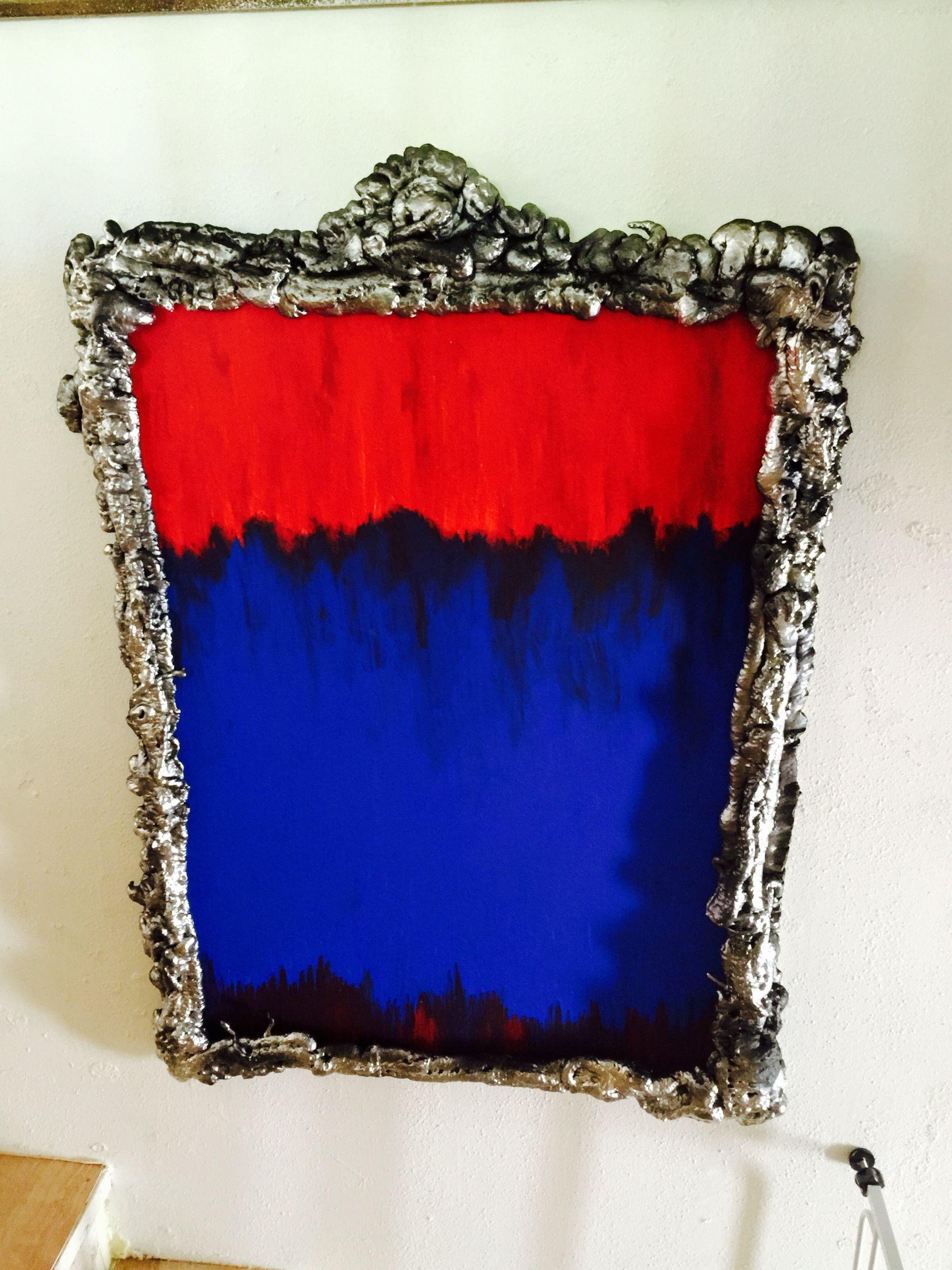Make your own frames. Simple and cheap, just wrap your paintings in ...