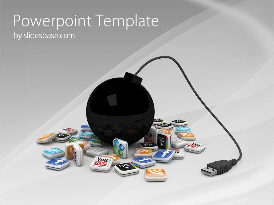 3d-social-media-icons-bomb-usb-social-marketing-seo-facebook, Modern powerpoint