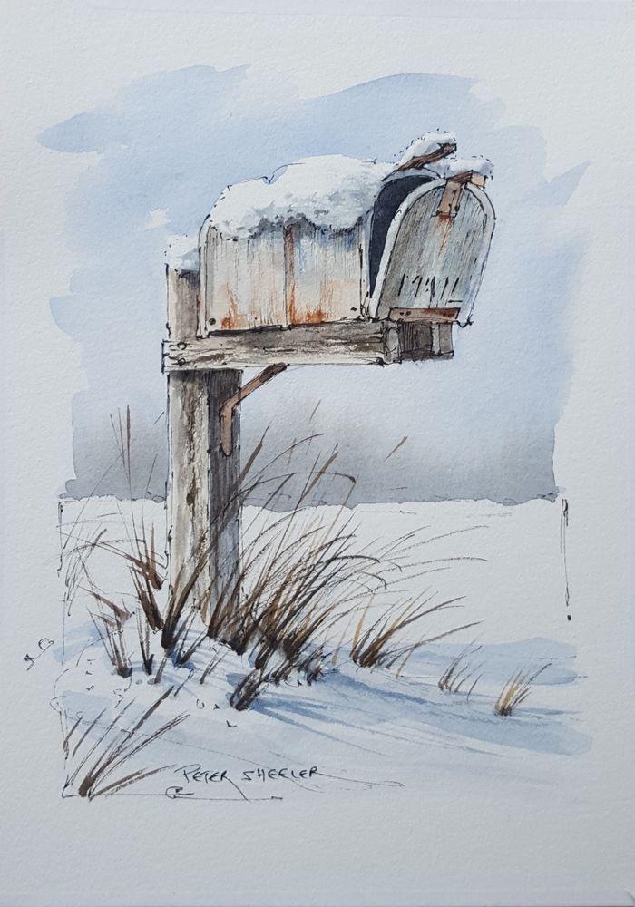 """winter mailbox"" 5x7 fine art original"