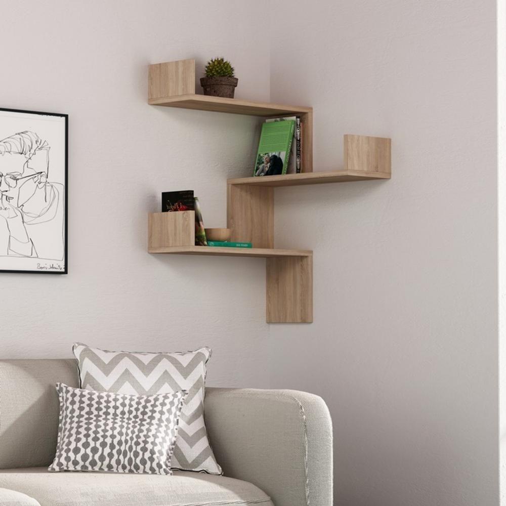 Ada Home Decor Walker Oak Mid Century Modern Wall Shelf Dcrw2124