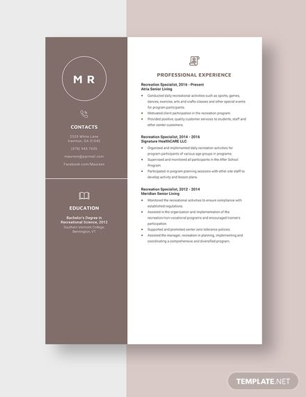 recreation specialist resumecv template  word doc