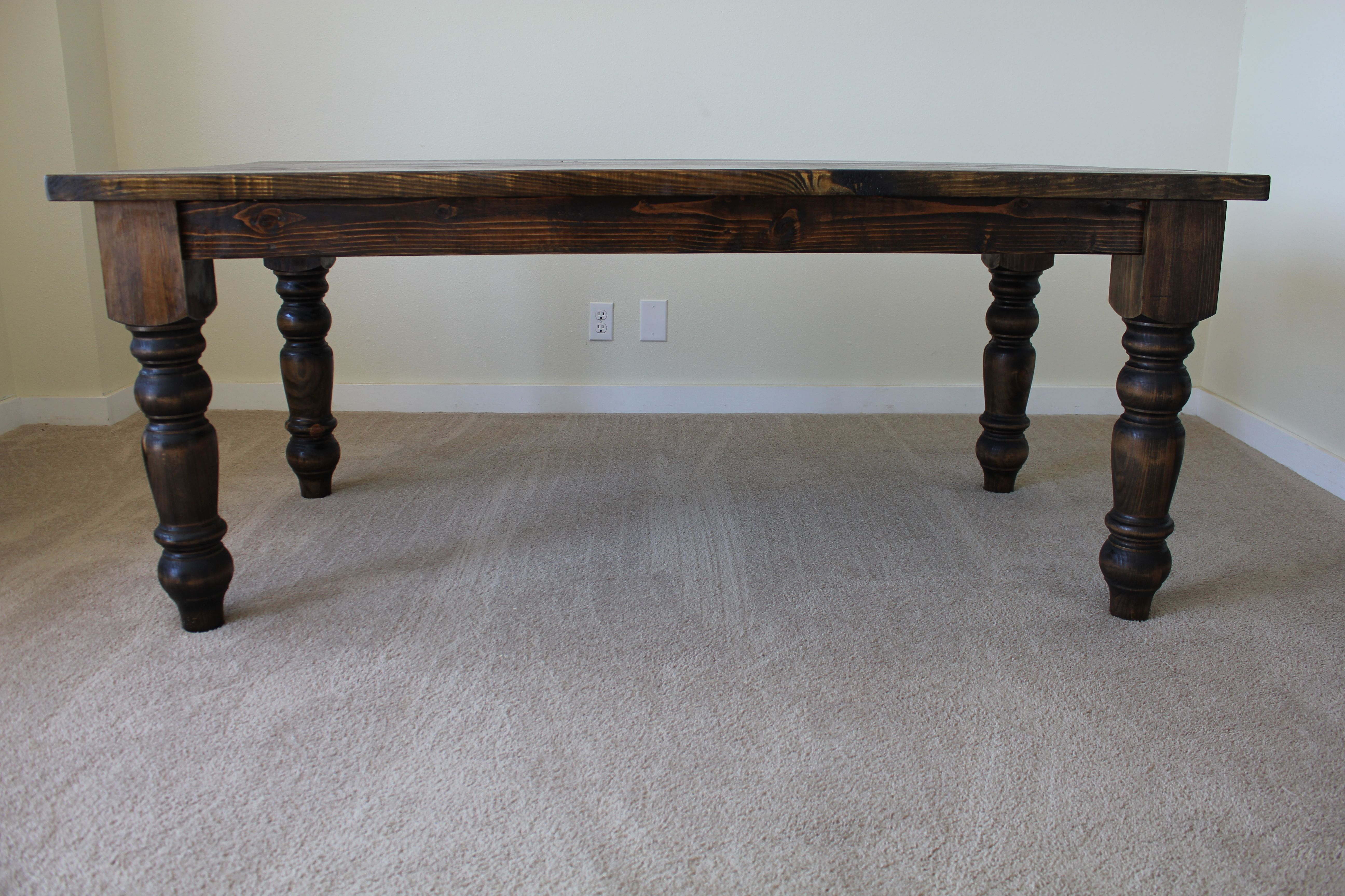 Baluster Turned Leg Dining Table All Wood Hand Crafted In Dark
