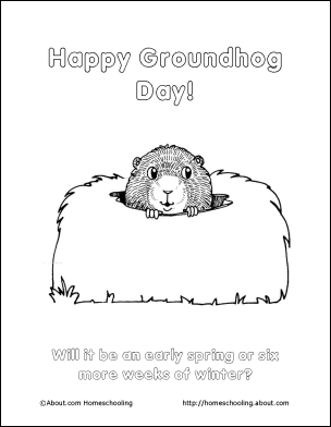 10 word games and coloring pages for groundhog day - Groundhog Coloring Page Printable