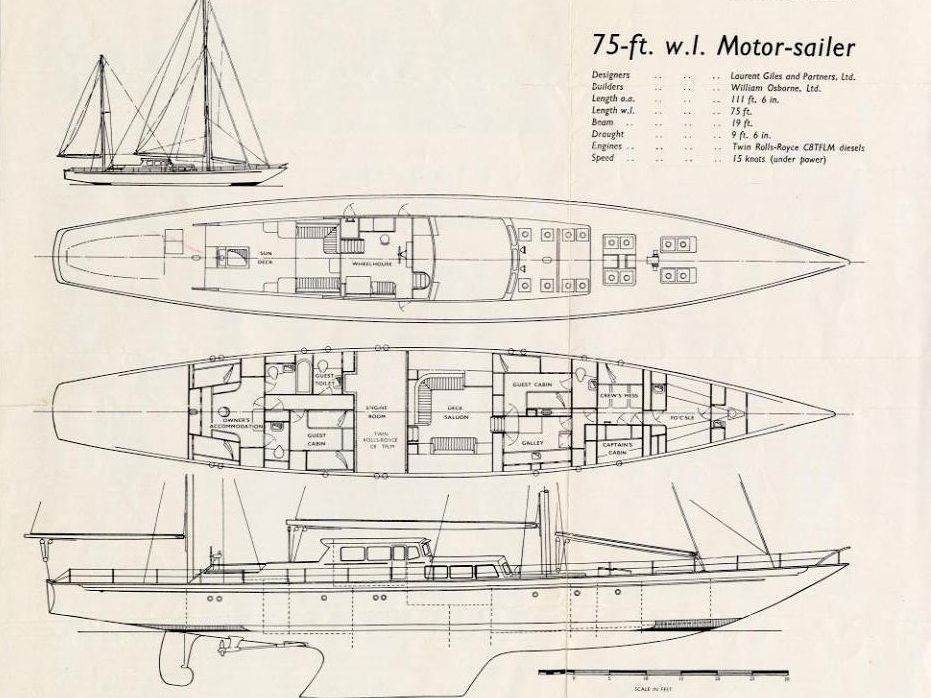 Original Plan Drawings If Sailing Ketch Superyacht BLUE LEOPARD Yacht Design Naval Architecture By