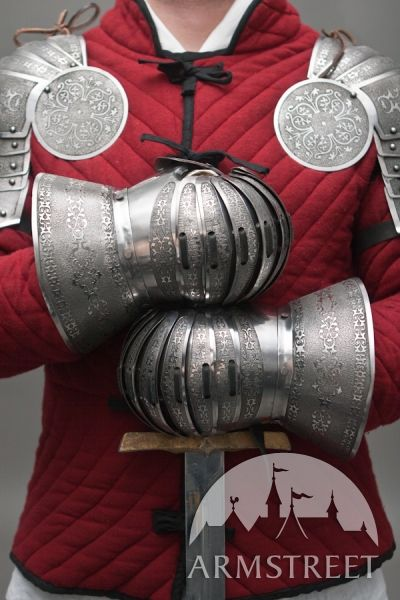 SCA Metal Gauntlets Functional Etched Armor | Costume