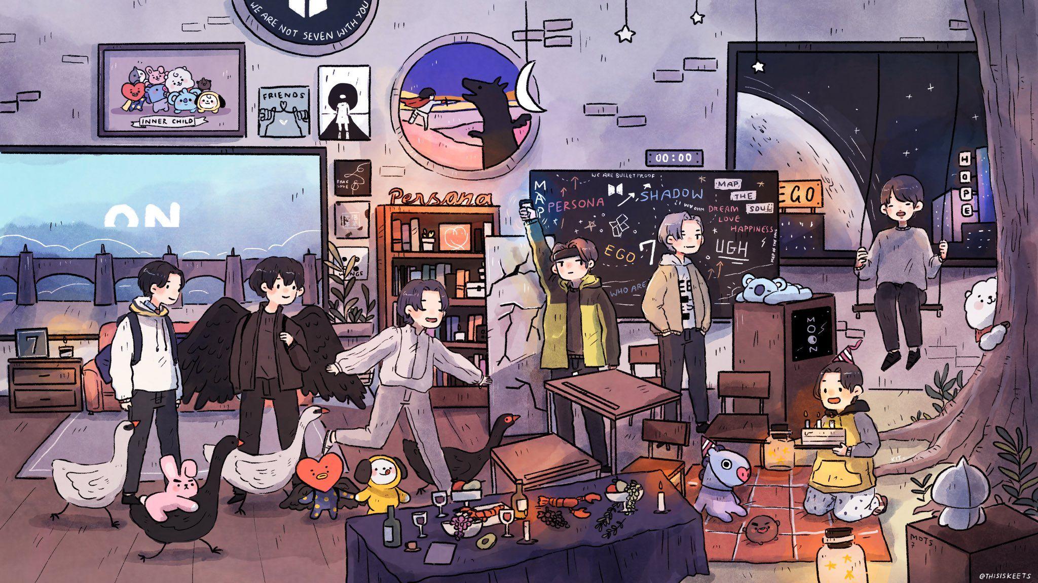 Twitter Bts Drawings Bts Fanart Bts Chibi Bts anime wallpaper laptop