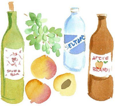 caitlyn mcgauley. bottles and fruit, apricot brandy bottle